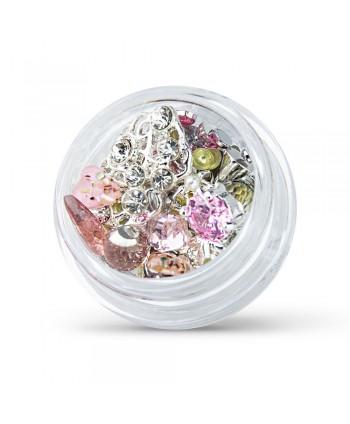 Ozdoby na nechty mix 09 - strieborno ružové