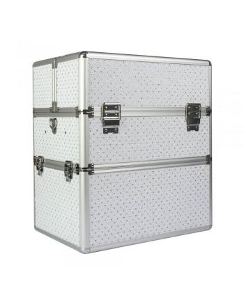 Dvojdielny kozmetický kufrík biely so srdiečkami