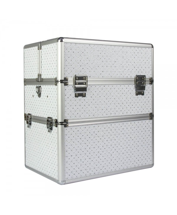 Dvoudílný kosmetický kufřík bílý se srdíčky Bílá