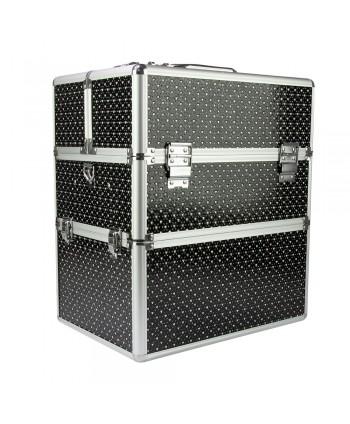 Dvojdielny kozmetický kufrík čierny so srdiečkami