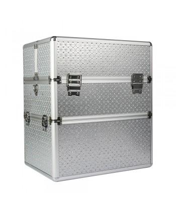 Dvojdielny kozmetický kufrík strieborný so srdiečkami