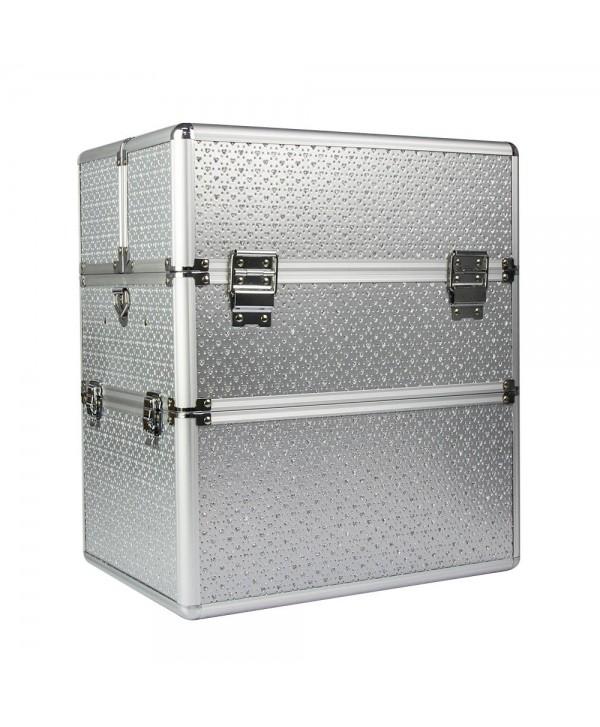 Dvoudílný kosmetický kufřík stříbrný se srdíčky Stříbrná