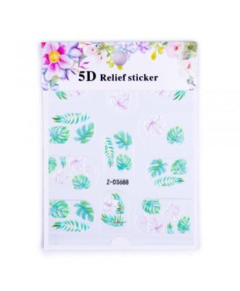 5D nálepka na nechty  3688 - listy a kvety