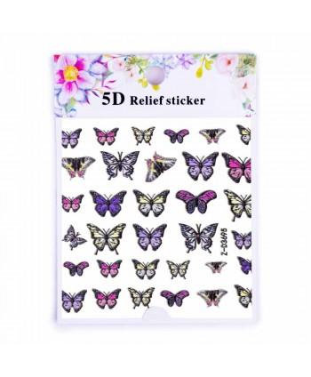 5D nálepka na nechty 3695 - motýle