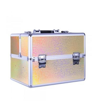 Kozmetický kufrík - zlatý laser holo