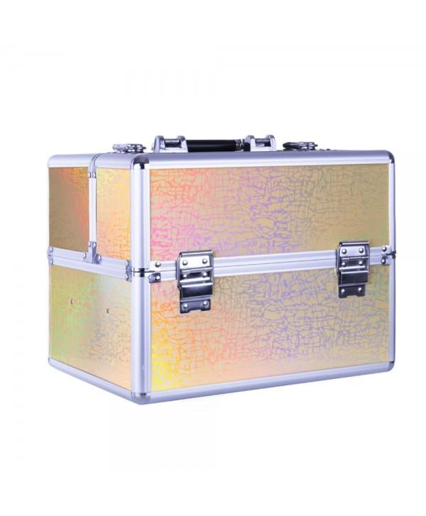 Kosmetický kufřík - zlatý laser holo