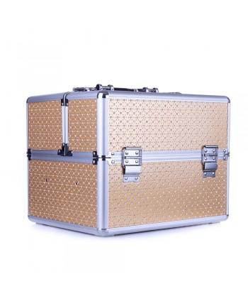 Kozmetický kufrík - zlatý s kamienkami v tvare srdca