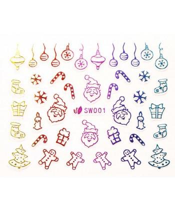 3D nálepky  na nechty- vianočný motív SW001
