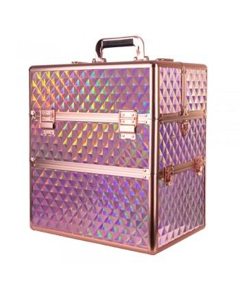 Dvojdielny kozmetický kufrík - 3D holo ružový