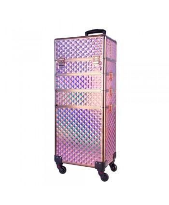 Kozmetický kufrík XXXL 4 v 1 ružovo zlatý