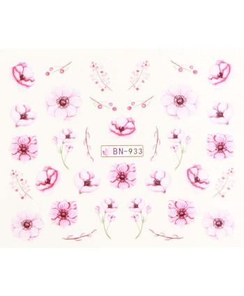 Vodonálepky s motívmi kvetov BN-933