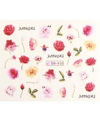 Vodonálepky s motívmi kvetov BN-930
