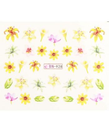 Vodonálepky s motívmi kvetov BN-928