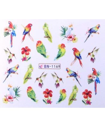 Vodonálepky s motívom papagájov BN-1169