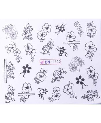 Vodonálepky s motívmi kvetov BN-1200