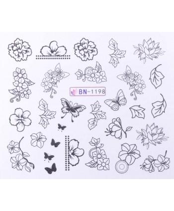 Vodonálepky s motívmi kvetov BN-1198