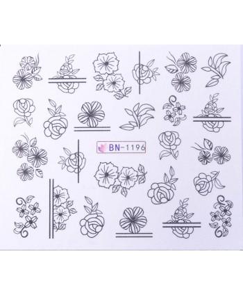 Vodonálepky s motívmi kvetov BN-1196