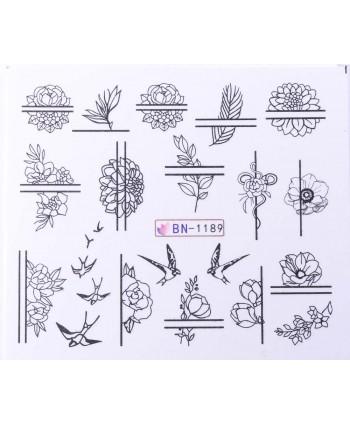 Vodonálepky s motívmi kvetov BN-1189