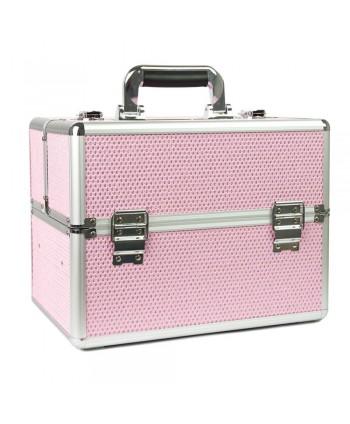 Kozmetický kufrík XL na 36W lampu - Svetlo ružový so zirkonmi