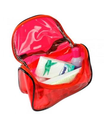 Kozmetická taštička transparentná - červená