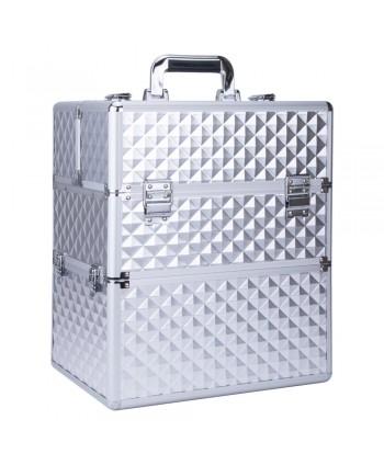 Dvojdielny kozmetický kufrík - 3D strieborný