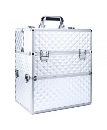 Dvojdielny kozmetický kufrík- 3D strieborný 02