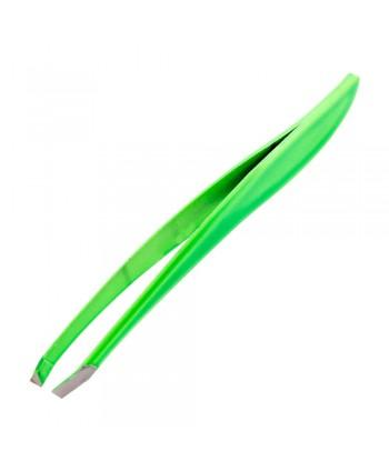 Profesionálna kozmetická pinzeta šikmá neon zelená
