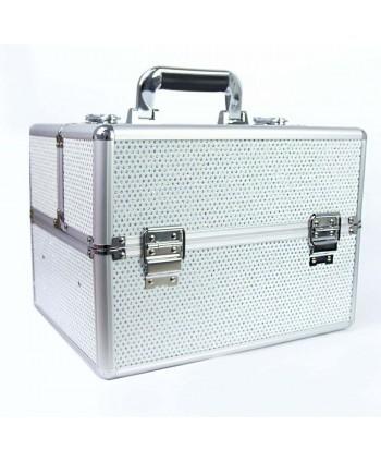 Kozmetický kufrík - biely so zirkónovými kamienkami
