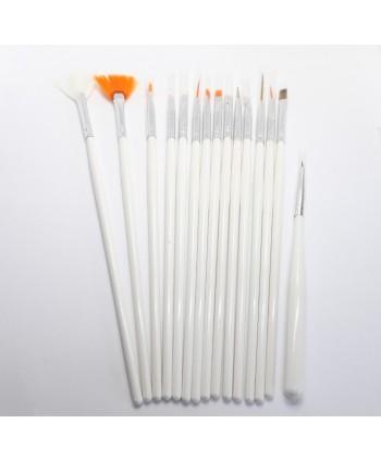 Sada štetcov pre nail art  biela 15 ks