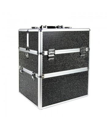 Dvojdielny kozmetický kufrík - čierny zdobený kamienkami