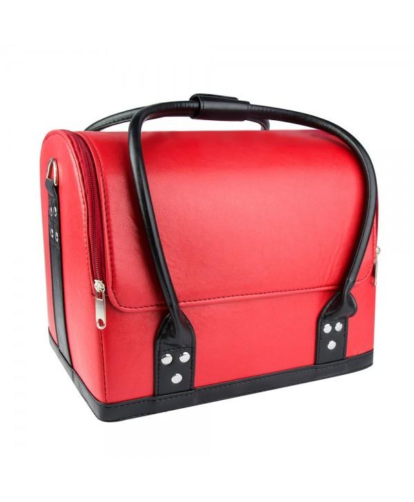 Luxusní kosmetický kufřík - červený s černou rukojetí 01 Červená