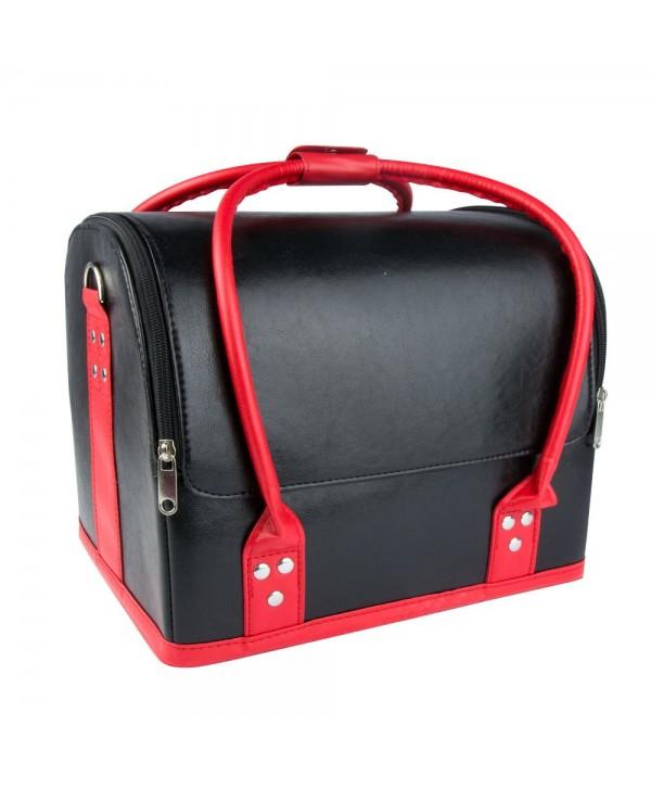 Luxusní kosmetický kufřík - černý s červenou rukojetí 01 Černá