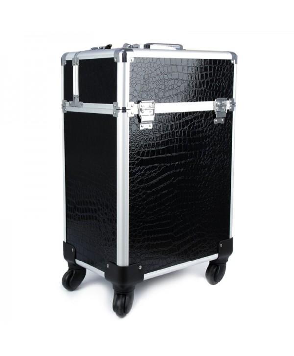 Kozmetický kufrík 4005 čierny krokodíl - XXL Černá