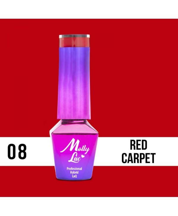 08. MOLLY LAC gel lak -Red CARPET 5ML Červená