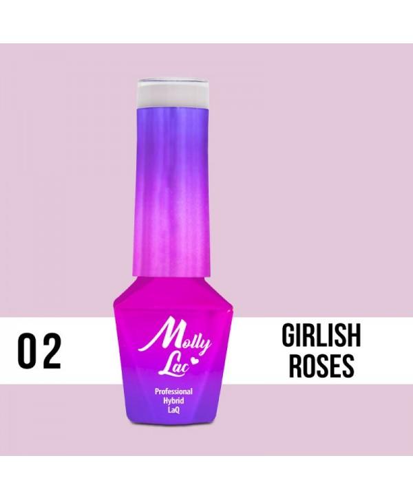 02. MOLLY LAC gel lak - dívka ROSES 5ML Růžová