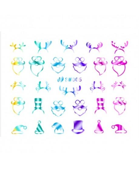 3D nálepky na nechty- vánoční motiv SW005