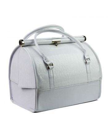 Luxusný kozmetický kufrík - biely krokodíl 07