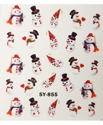 Vianočné vodolepky snehuliak SY855