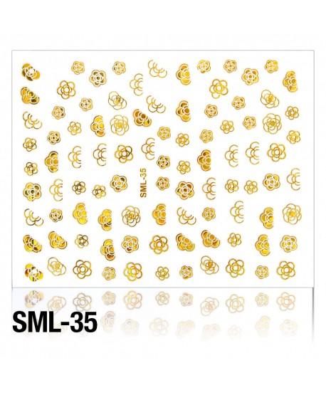 3D nálepky na nehty zlaté holografické 035