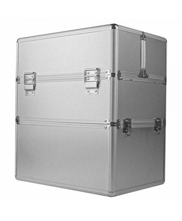Dvoudílný kosmetický kufřík - stříbrný M-3N Stříbrná
