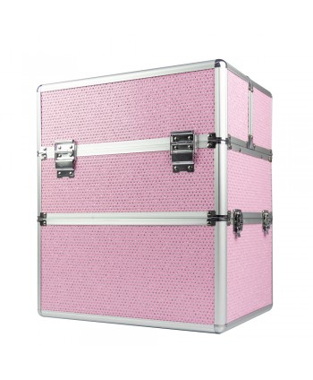 Dvojdielny kozmetický kufrík - ružový zdobený kamienkami