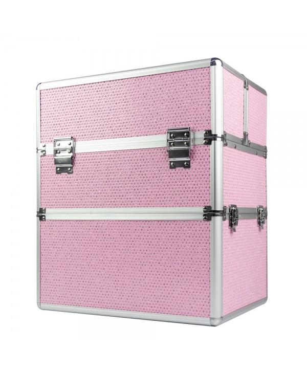Dvoudílný kosmetický kufřík - růžový zdobený kamínky Růžová