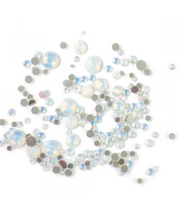 Zirkónové kamienky opal mix - biele AB, 350 ks