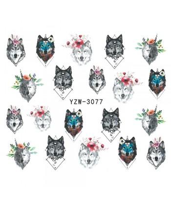 Vodonálepky na nechty motív vlka YZW-3077