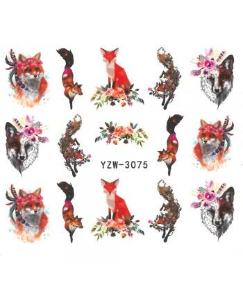 Vodonálepky na nechty motív líšky YZW-3075