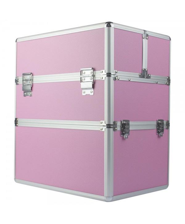 Dvoudílný kosmetický kufřík - růžový M-3N Růžová