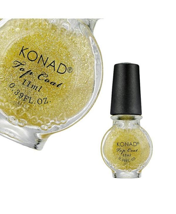 Levně Speciální vrchní lak Konad Glitter Gold 11ml Čirá