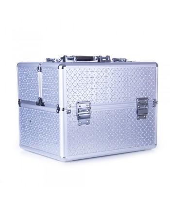 Kozmetický kufrík - strieborný s kamienkami v tvare srdca