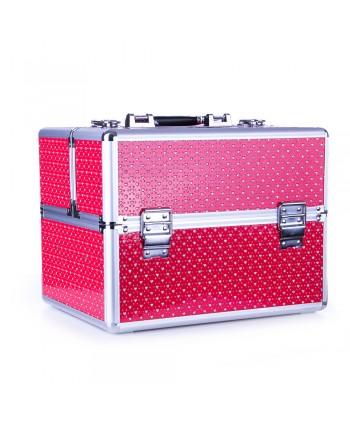Kozmetický kufrík - červený s kamienkami v tvare srdca
