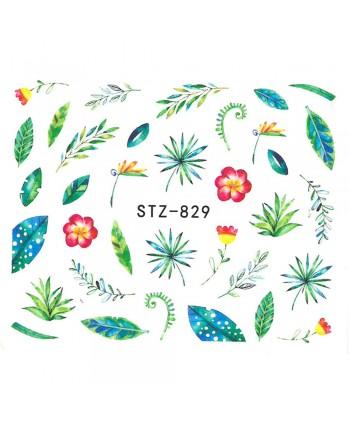 Vodonálepky na nechty kvietky a lístky STZ-829